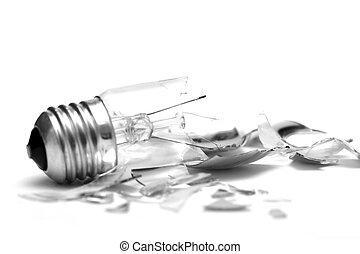 Bulb - Broken lightbulb isolated on pure white background