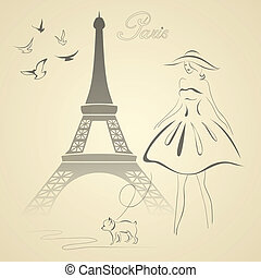 French retro style vector illustration - Eiffel tower,...
