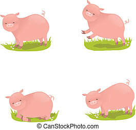 Set of four cute vector pigs