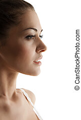 Beautiful Woman side view portrait with sensual open mouth...