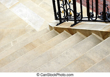 Stairs made of sandstone - The photograph of a staircase...