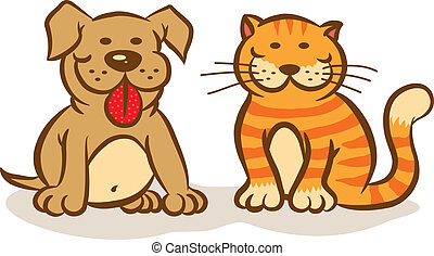 Dog and cat - Illustration of smiling dog and cat