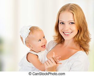 happy family young mother with baby girl - A happy family...