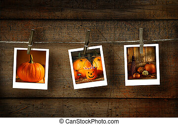 Halloween photos on distressed wood