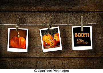 Halloween photos on distressed wood background