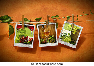 Pictures with vine pinned on clothesline against rustic...