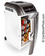 The portable road refrigerator with cans inside