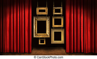 Gold frames with red drapes and dark background