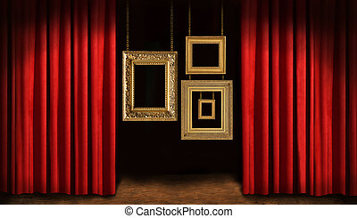 Gold frames with red drapes
