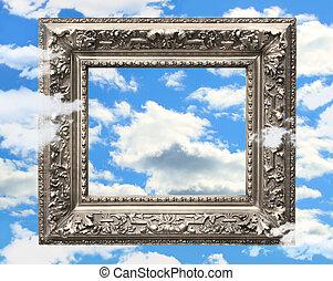 青, 映像, フレーム, 空, に対して, 銀