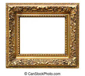 Old cracked gilded frame on white background