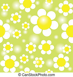 Field of Daisies Seamless Pattern - White chamomiles on a...