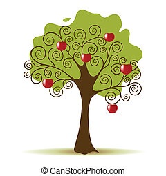 Apple Tree Isolated on a White Background - Apple tree...