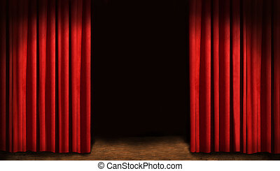 Red drapes and dark background