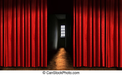 Red theater curtain with door and dark shadows