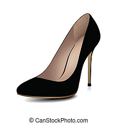 alto, talones, negro, zapato