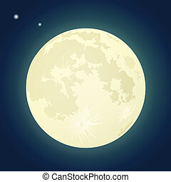 Full Moon on a Dark Blue Sky. Vector Illustration -...