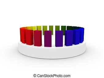 Cubes with color gradient on a socket