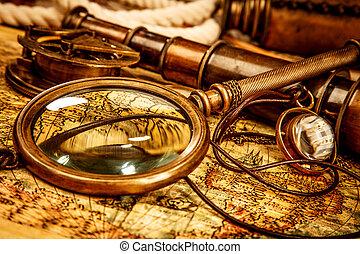 Vintage still life. - Vintage magnifying glass, compass,...