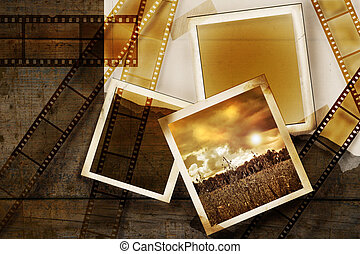 Old film and photos on distressed wood panels - Old film and...