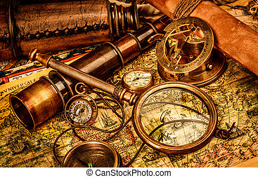 Vintage still life. - Vintage magnifying glass, compass,...
