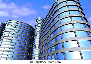 Business buildings - Business buildings. 3d render.