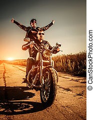 Bikers on the road - Couple Bikers in a leather jacket...