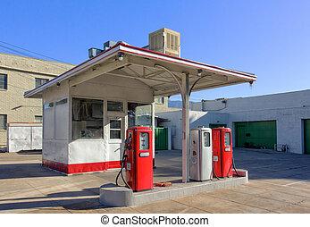 Vintage Gasoline Station - Empty Urban Vintage Gasoline...