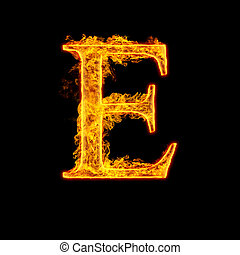 Fire alphabet letter E isolated on black background