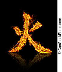Fire hieroglyph isolated on black background.