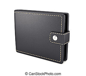 Leather wallet - 3d render of leather wallet isolated on...