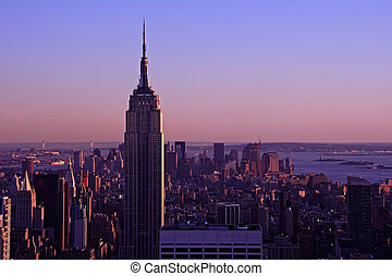 The Empire State Building at dusk - Aerial view of the...