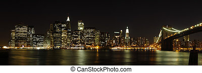 Lower Manhattan panorama - Panoramic view of lower Manhattan...