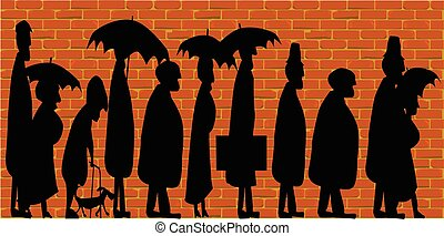 Standing In Line - Silhouette of older people standing in...