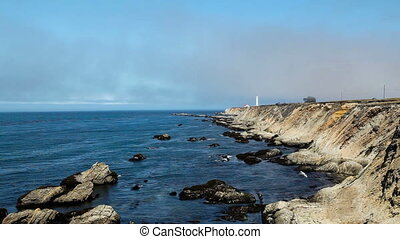 Point Arena Lighthouse 1 - Waves and FogClouds Around Point...