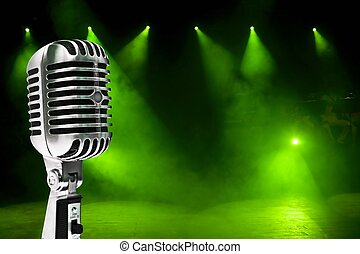 microfone, ligado, coloridos, fundo