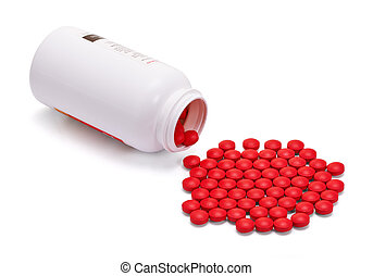 Red tablets in a jar