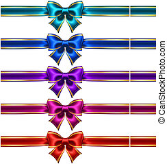 Set of silk bows with ribbons and golden edging - Vector...