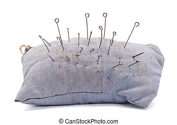 pillow for needles - old pillow for needles