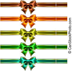 Silk bows with ribbons with golden edging - Vector...