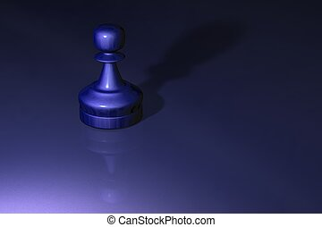 Chess Pawn - A metalic chess piece pawn on a shiny table top...