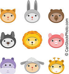 Different animal faces icons isolated on white