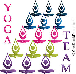 Yoga team logo vector - Yoga team icon vector