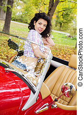 Woman at retro car on passanger seat - Woman at retro car on...