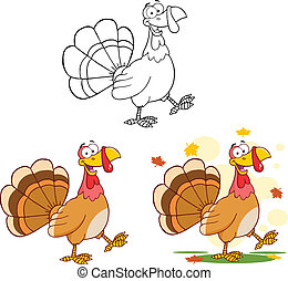 Happy Turkey Collection - Happy Turkey Cartoon Character...