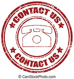 Contact Us-stamp - Grunge rubber stamp with text Contact...