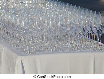 Glasses on the table - View of Many glasses on the table