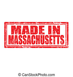 Made in Massachusetts-stamp - Grunge rubber stamp with text...