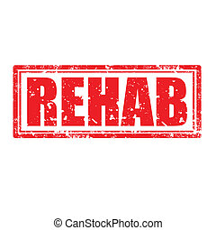 Rehab-stamp - Grunge rubber stamp with word Rehab,vector...