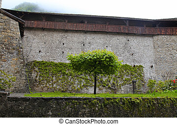 Wall of Chateau de Chillon, Switzerland - Medieval wall of...